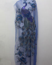 1Pcs Big Peacock Flower Blue Sequins Metallic Gold Embroidery Tulle Lace Fabric