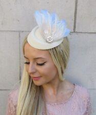 Crème Bleuet Bleu Clair Pearl Feather Pilulier Chapeau Pince à cheveux bibi 5907