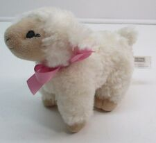 Janie & Jack Adorable Baby LAMB WHITE SHEEP Pink Bow RATTLE Plush Stuffed Toy