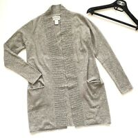 Aqua Women/'s Drape Front Black Donegal Cashmere Speckle Cardigan Sweater $198