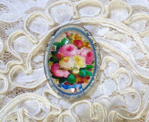 Vintage Floral 30X40mm Glitter Unset Handmade Glass Art Bubble Cameo Cabochon