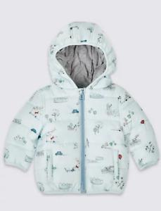 C4 BNWT M&S Boys Blue Print Hooded Jacket Coat Stormwear 9-12 Months