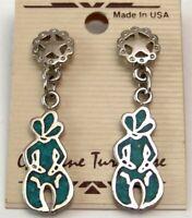 Genuine Turquoise Earrings Southwestern Dangle Made in USA