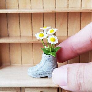 Dollhouses Miniatures Clay Flower in Ceramic Vase Daisies FAIRY GARDEN Decoratio