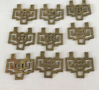 "Vintage Asian Chinese Drawer Pulls Brass Gold Tone 3"" X 2"" Lot 9"