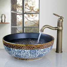 Round Bathroom Vessel Ceramics Sink Set With Antique Brass Tap Mixer Faucet