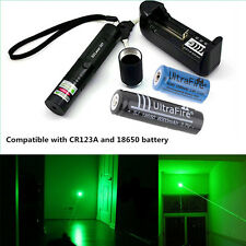 10 Miles Green 1mW 532NM Laser Pointer Pen 301 Light Burning Focus + 2x Battery