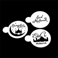 3pcs/set Mosque Eid Mubarak Ramadan Design Coffee Stencils Cake Template Tool D#