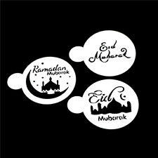 3pcs / set Moschea Eid Mubarak Ramadan Design Coffee Stencil Cake TemplateT CRIT