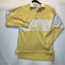 Vintage Coca-Cola Yellow White Long Sleeve Rugby Polo Shirt No Size ?? Tag