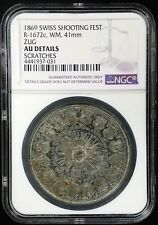 1869 Swiss Shooting Fest Medal, R-1672c, WM, 41 mm, Zug AU Details by NGC!