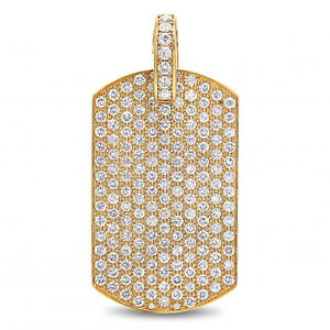 4.00 Ct Simulated Diamond Round Cut 10K Yellow Gold Dog Tag Charm Pendant