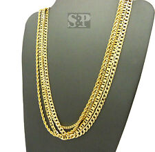 NEW HIP HOP CHAINS SET ROPE & BOX & LINK & CUBAN NECKLACE 4 CHAIN SET SPRC1525