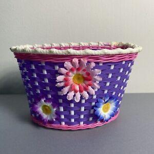 Vintage Child's Girls Woven Plastic Bicycle Bike Basket w/Flowers Purple & Pink