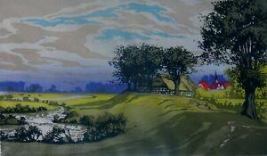 Oscar DROEGE (1898-1982) - Landschaft mit Bachlauf und kleinem Dorf