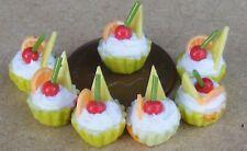 1:12 Échelle 7 Desseré Assortiment Fruit Tasse Gâteaux Tumdee Dolls Maison pour