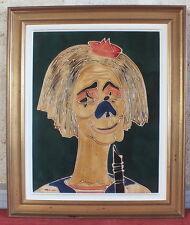 tableau peinture huile clown musicien signe date 76