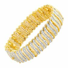 2 ct Diamond 'S' Link Tennis Bracelet in 18K Gold-Plated Brass