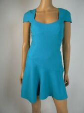 $325 Black Halo Teal Blue Textured Scoopneck Fit & Flare Dress 2 NWT B757
