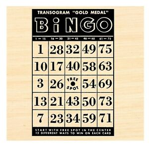P123 Vintage Bingo card Rubber Stamp