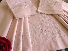 Drap 2 taies Parure de lit vintage Coton pur brodé main 240 x 310 cm 1494/17-1