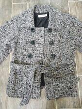 Tahari Women Wool Short Warm Pea Coat Outerwear Jacket Size 8 lined Belt Buttons