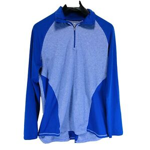 Champion Duo Dry Size L Athletic Running Top Long Sleeve 1/4 Zip Pullover Blue