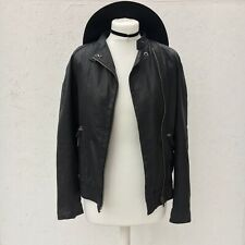 Topshop Boutique Black Real Leather Jacket Biker Cut Out RRP £250 8 UK