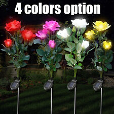Solar Powered Rose/Lily Flower Stake Lights Garden Yard Outdoor Waterproof Lamps