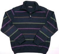 St. Croix Quarter Zip Striped Pull Over Sweater Size Medium Men's