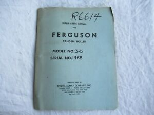 1965 Ferguson 3-5 TON tandem roller parts manual catalog SN 1468