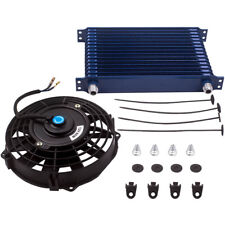 """New Listing15 Row An10 Universal Aluminum Engine Oil Cooler & 7"""" Blue Cooling Fan"""