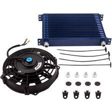 "15 ROW AN10 Universal Aluminum Engine Oil Cooler & 7"" Blue Cooling Fan"