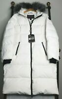 NEW PAJAR Large Womens Duck Down White Hooded Winter Puffer Parka Coat NWT $595