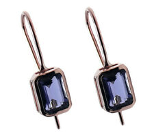 E168 Genuine 9ct Rose Gold Natural Iolite Drop Earrings with Leverback closure