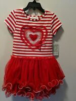 Bonnie Jean Little Girls St Valentine's Heart Birthday Tutu Red Dress  2T-6X