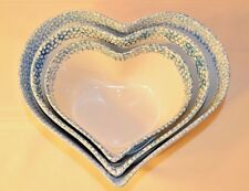 ABC EXCLUSIVE HEART SHAPED BOWL: BLUE AND WHITE THREE PIECE SET (3)