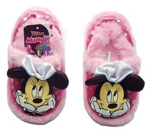 MINNIE MOUSE DISNEY Plush Rubber Bottom Slippers Toddler Sz. 5-6 7-8 or 9-10