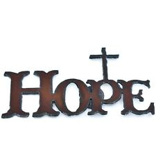 """Country Western Rusted Patina Iron Metal Cutout Religious Cross """"HOPE"""" Magnet"""