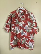 HAWAIIAN SHIRT BY PIERRE CARDIN XL Red/Olive/Cream LEAVES TROPICAL- COTTON