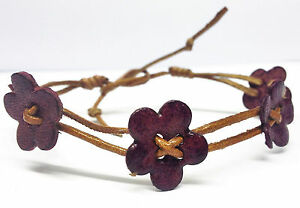 Boho Hippy Gypsy Folk Retro '70's Style Leather Flower Bracelet Anklet