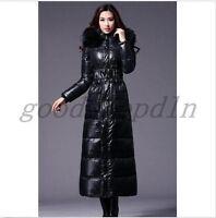 Winter Women's Fashion Long Duck Down Coat Fur Hooded Lady Black Parka Jacket SZ