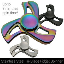 Fidget Spinner Toy | Stainless Steel Tri Hand Spinner | 7 Min Spin | Rainbow