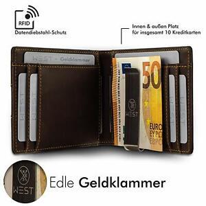 WEST Premium Geldbörse mit Geldklammer - Geldbeutel mit RFID Schutz & Münzfach