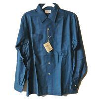 Viyella Hathaway Wool Cotton Blend Long Sleeve Work Shirt Blue 15-15 1/2 Neck...