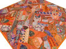 Quilt Patchwork Orange King Indian Handmade Bedspread Bed cover Vintage Boho