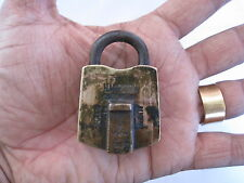 An old or antique solid brass small padlock lock with key RARE shape HARRISON