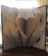 PERSONALISED INITIAL HEART WORD LOVE FOLDED BOOK ART BIRTHDAY ENGAGEMENT GIFT