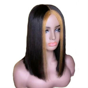 Dark Brown w/Gold Highlight Shoulder Lenghth Wig Women Synthetic Straight Hair