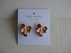 KATE SPADE 12K Pink Gold Plated Blush Pansy Blossom Stud Earrings - Dust Bag NWT